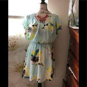 Ezra/Floral pastel colors Dres with elastic waist
